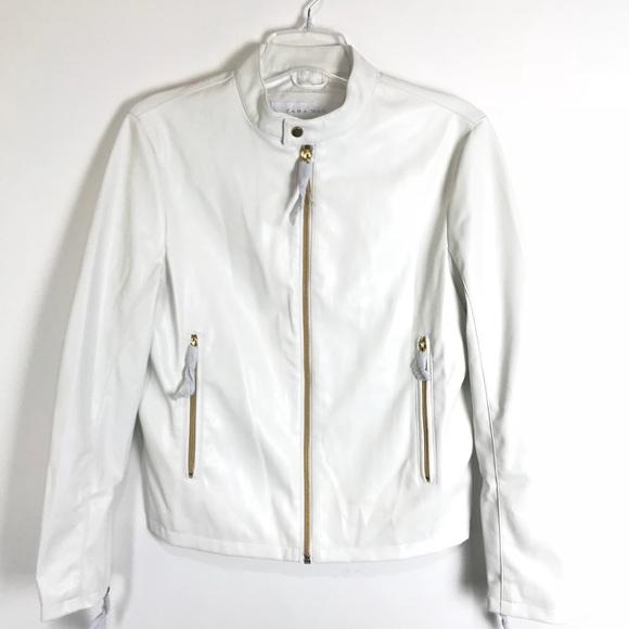 7382d470d Zara Man White Faux Leather Jacket Gold Zipper Med.  M_5b434632de6f62318925875e